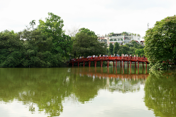 The Huc Bridge Hoan Kiemsee in Vietnam
